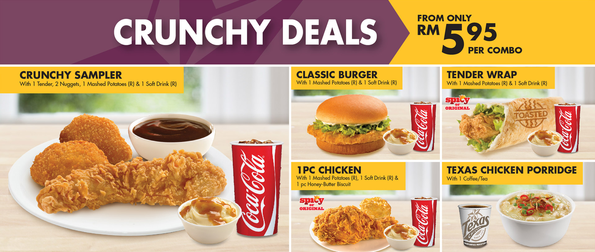 Texas Chicken Promotions: Crunchy Deals. From only RM5.95 per combo.