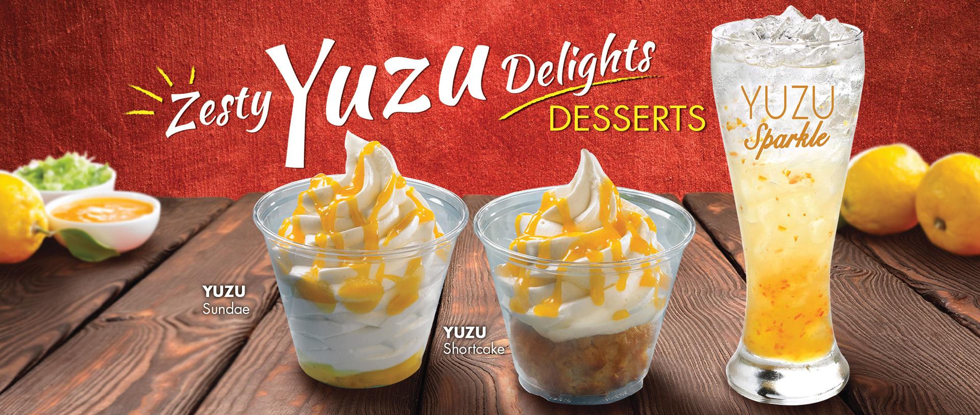 Texas Chicken Promotions: Zesty Yuzu Delights Desserts. Yuzu Sundae, Yuzu Shortcake, Yuzu Sparkle