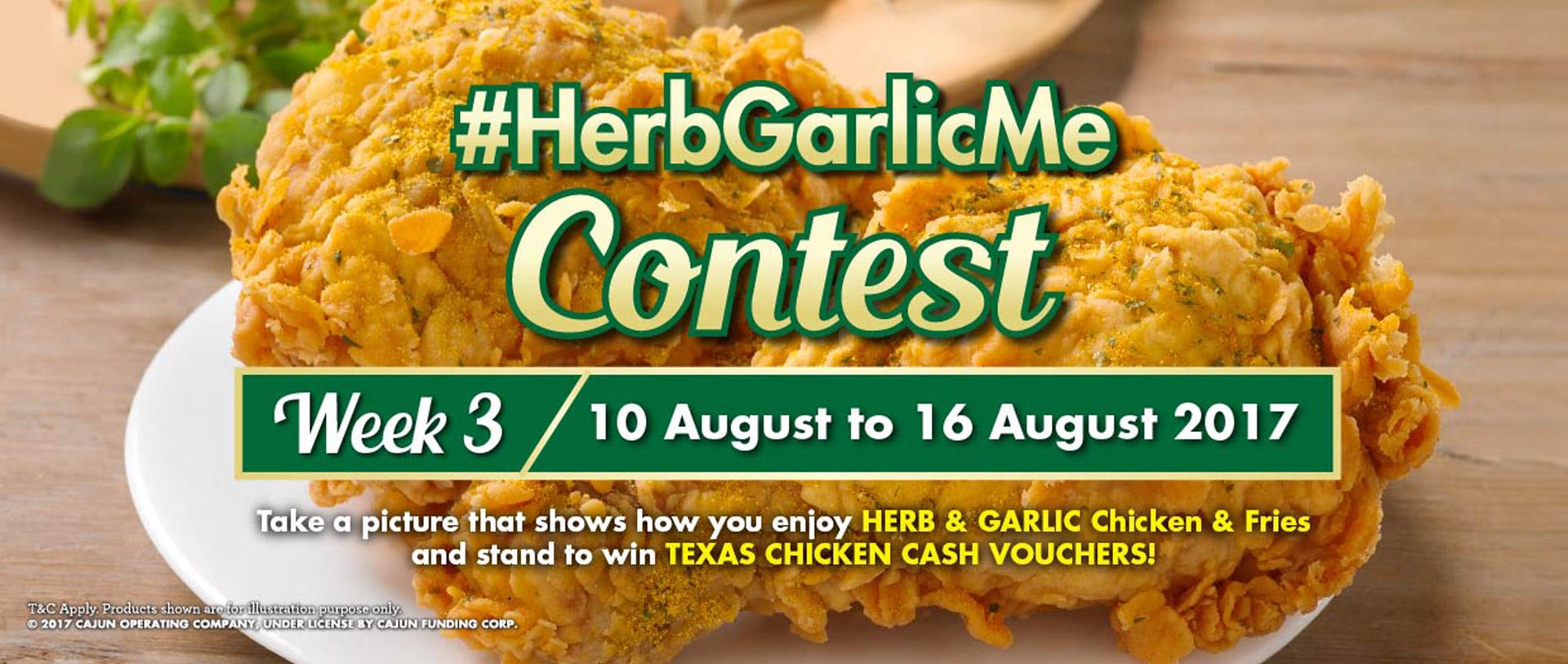 Texas Chicken Promotions: #HerbGarlicMe Contest. Stand to win Texas Chicken Cash Voucher.
